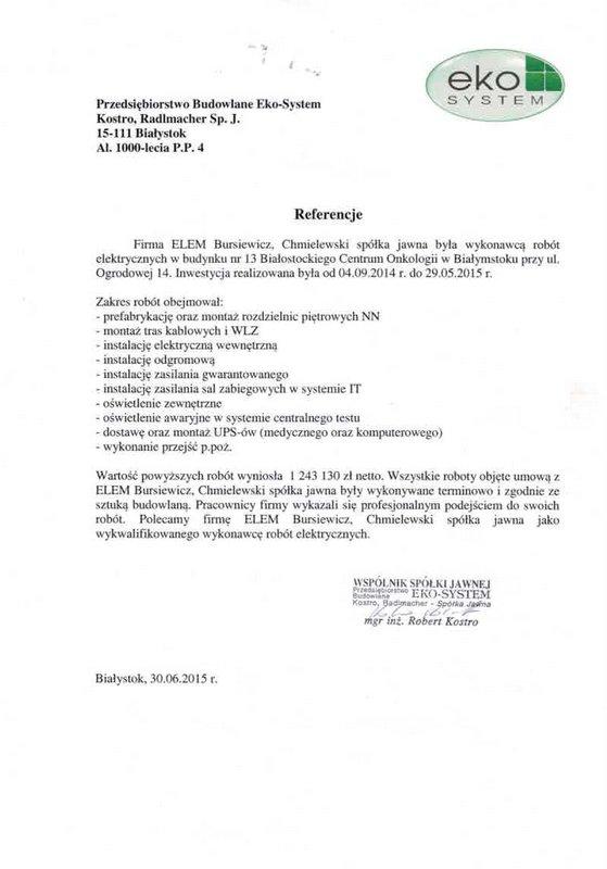 Zleceniodawca Przedsiębiorstwo Budowlane Eko-System