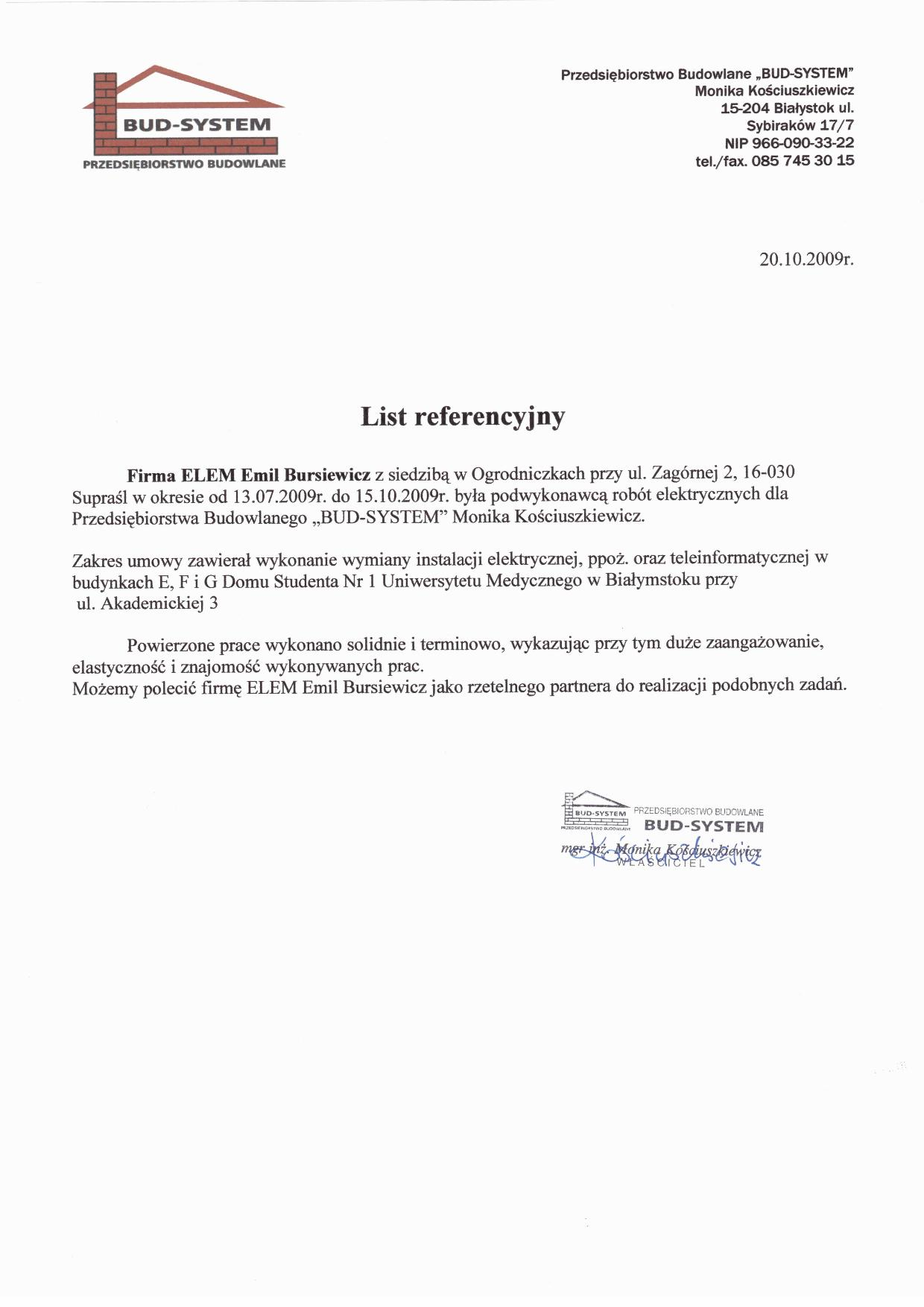 """Zleceniodawca """"BUD-SYSTEM"""" Monika Kościuszkiewicz"""