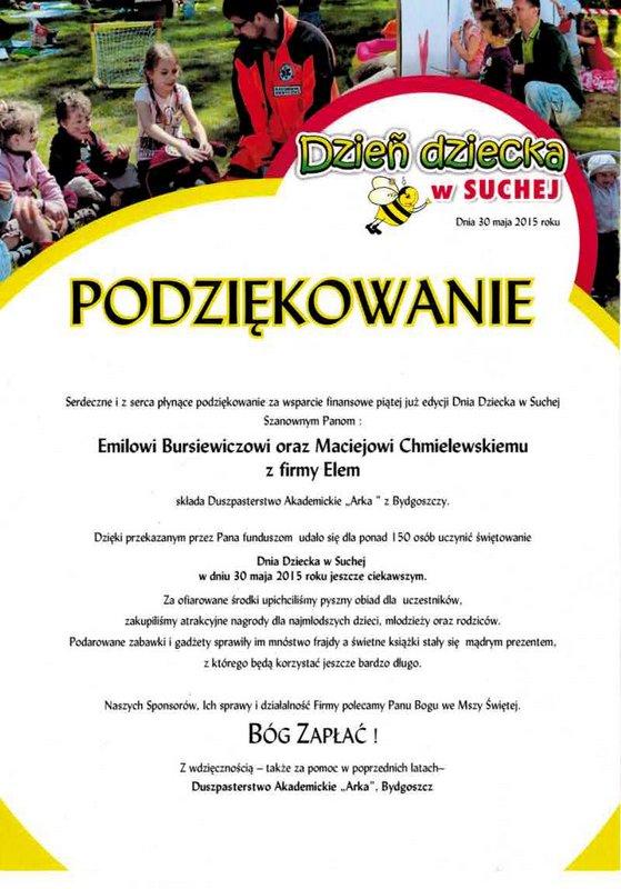"""Podziękowanie od Duszpasterstwa Akademickiego """"Arka"""" z Bydgoszczy"""