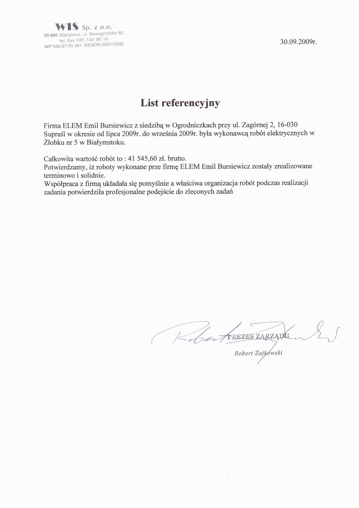 Zleceniodawca WIS Sp. z o.o.